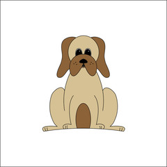 tan dog with droopy cheek vector