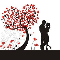 Hintergrund mit Herzen und Liebespaar