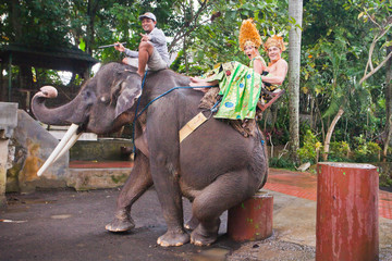 couple riding and traveling on an elephant