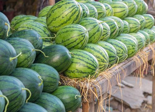 sweet green watermelons in market
