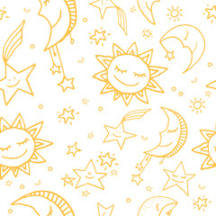 Seamless pattern of sun, moon and stars
