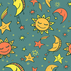Seamless pattern of sun, moon and stars