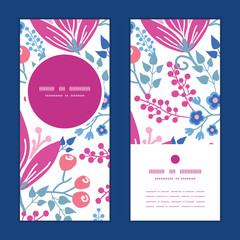 Vector pink flowers vertical round frame pattern invitation