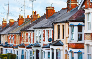 Row of Typical English Terraced Houses Fotomurales