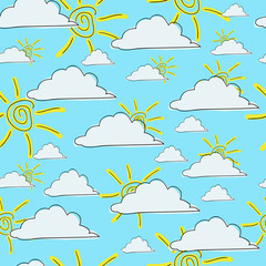 seamless pattern sun in the clouds