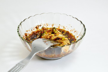 Thai spicy chicken sauce in the cup