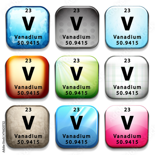 A button showing the element Vanadium