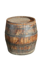 isolated wooden wine barrel