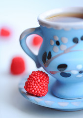 Cup of tea with sweets
