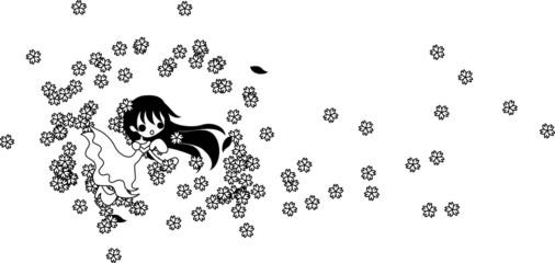桜の花と共に、華麗に舞う黒髪の少女。