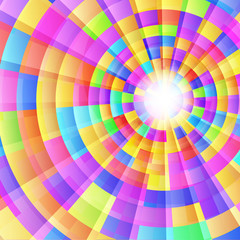 colorful bright kaleidoscope with concentric circles and light r