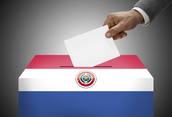 Ballot box painted into national flag colors - Paraguay