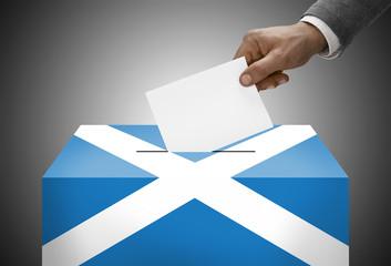 Ballot box painted into national flag colors - Scotland