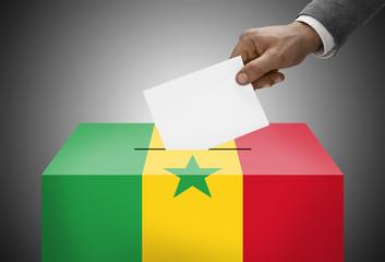 Ballot box painted into national flag colors - Senegal