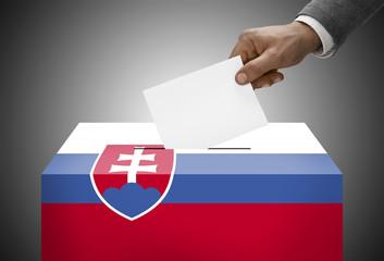 Ballot box painted into national flag colors - Slovakia