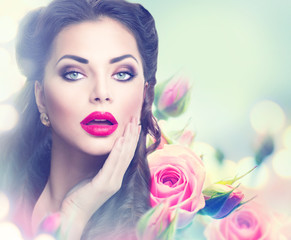 Foto op Canvas Beauty Retro woman portrait in pink roses. Vintage styled portrait
