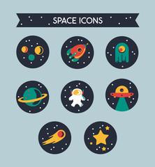 Set de iconos del espacio con estrellas, cohete y planetas.