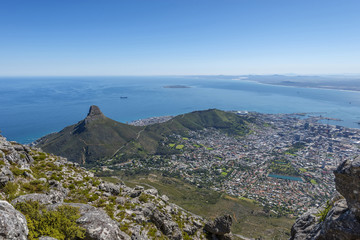 View from the flat top of Cape Town's Table Mountain