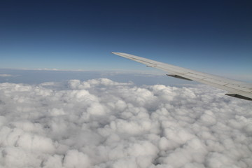 wing airplane above clouds view