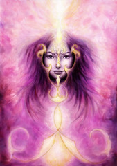 beautiful painting of a violett angelic spirit with a woman's