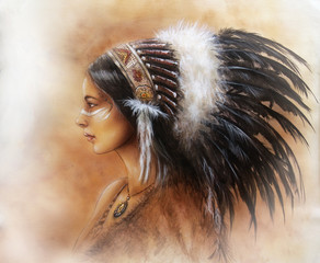 young indian woman wearing a big feather headdress, a profile p