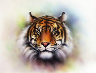 painting of a bright mighty tiger head on a soft toned abstract