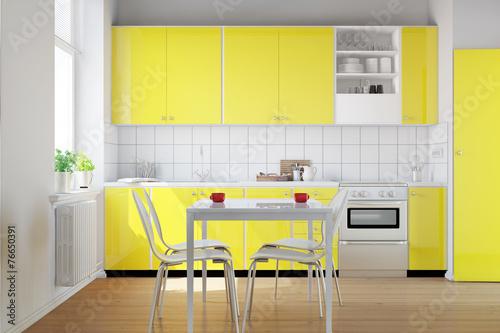 gelbe k chenzeile in kleiner k che stockfotos und. Black Bedroom Furniture Sets. Home Design Ideas