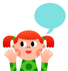 Happy cartoon girl with speach bubble