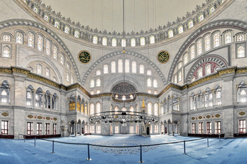 Interior of Nuruosmaniye Mosque in Istanbul, Turkey