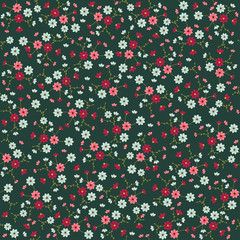 colorful small vector flowers seamless pattern