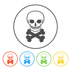 Skull icon isolated.