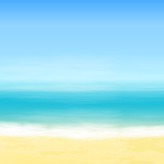 Beach and blue sea. Tropical background.