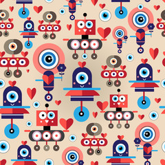 pattern amusing lovers robots