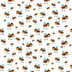 seamless pattern with flying bees