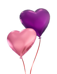 couple of colorful heart balloons, isolated 3d objects