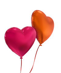 colorful Valentine's day 3d heart balloons isolated