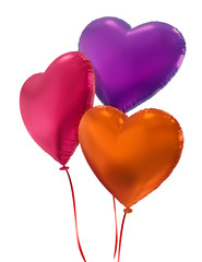 colorful Valentine heart balloons, 3d objects isolated on