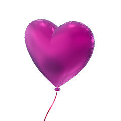 magenta Valentine's day heart balloon, 3d object isolated