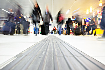 People in motion, railway station