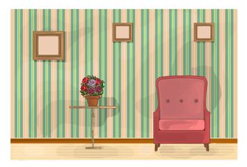 Vintage Living Room Illustration