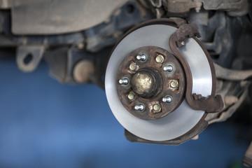 car wheel hub, disc, plate, rusted rotor, rusting bearing, used