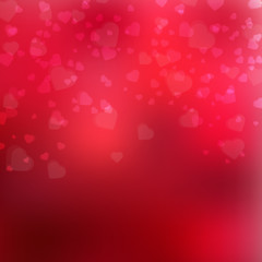 Happy Valentine's Day background with lights and hearts