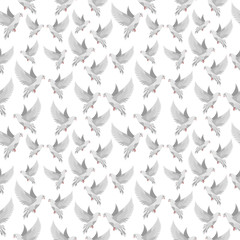 seamless pattern with beautiful doves
