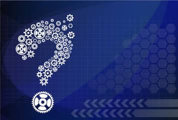 Abstract image with question mark made of gears
