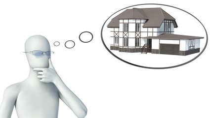 3d man thinking about buying a home