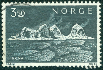 stamp printed in the Norway shows Traena Islands