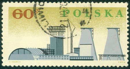 stamp printed in Poland, shows big plant