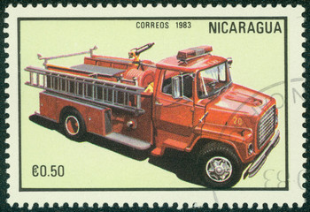 stamp printed in Nicaragua shows red fire truck