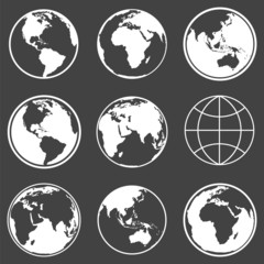 Set of earth planet globe icons. Vector.