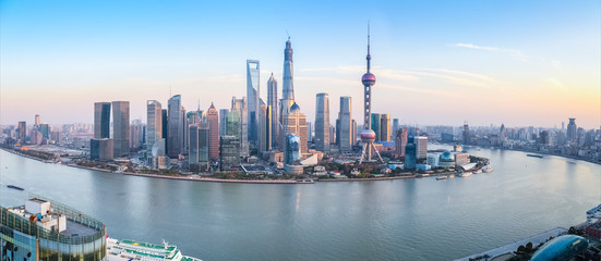 shanghai skyline panoramic view
